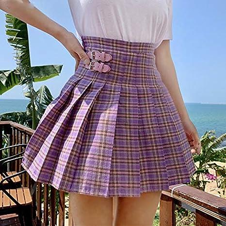 ZYSDHZ Falda A Cuadros Mini Falda Plisada Púrpura Falda Casual A ...