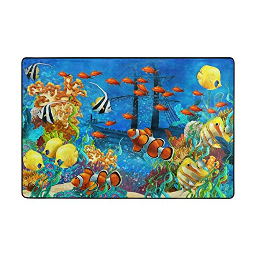 Pattern World Coral (Area Rugs Custom Checkered Non-slip Pad Cover Doormat 36 x 24 inch Beautiful Sea World Coral Reef And Fishes Kids Carpet Pattern Modern by Josid)