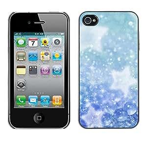 PC/Aluminum Funda Carcasa protectora para Apple Iphone 4 / 4S Winter Snowflakes Snow Stars / JUSTGO PHONE PROTECTOR