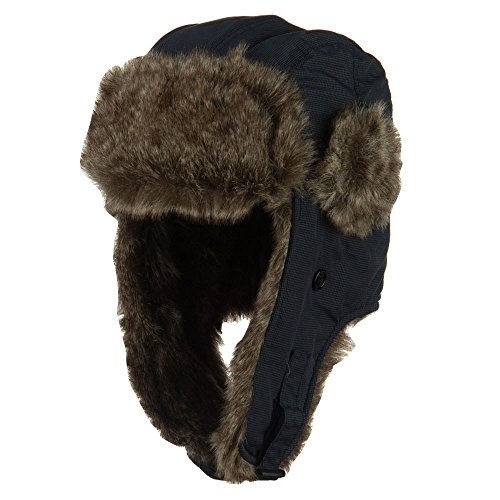 Boy's Ripstop Faux Fur Trooper Hat - Blue OSFM
