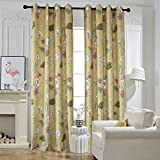 Flower Yellow Curtains For Bedroom – Anady Top 2 Panel Purple/Blue Floral Blackout Lined Curtains Grommet 100 inch Long(2018 New) Review