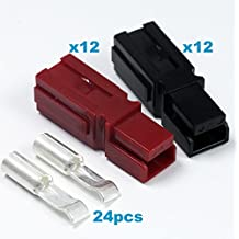 15 Amps Anderson Powerpole Connectors, PP15 to 45, Red and Black Housing, w/16-20 AWG Heavy Duty Contact, 600V ( Pack of 12 Set)