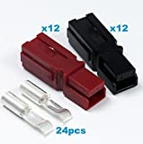 15 Amps Anderson Powerpole Connectors, PP15 to 45, Red and Black Housing, w/16-20 AWG Heavy Duty Contact, 600V (Pack of 12 Set)
