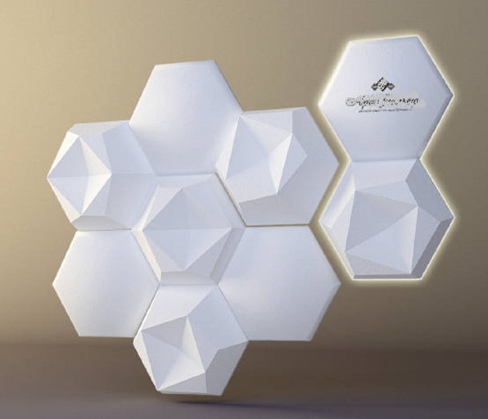 Plastic mold for 3d decor wall panels #126, for plaster (gypsum) or concrete