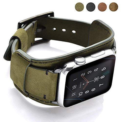 Coobes Compatible with Apple Watch Band 44mm 42mm Men Women Genuine Leather Compatible iWatch Bracelet Wristband Strap Compatible Apple Watch Series 5/4/3/2/1 (Crazy Horse Cuff Army Green, 44/42 mm)