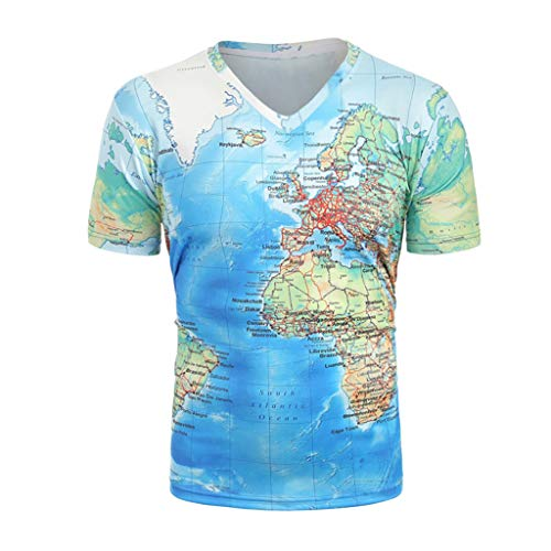 3D World Map Print Shirt for Men, Huazi2 Summer Short Sleeve V Neck Tops Blouse Sky Blue