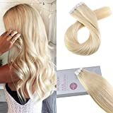 Moresoo 16 Inch Seamless Skin Weft Tape in Remy Hair Extensions Bleach Blonde Color #613 Adhesive Remy Human Hair Extensions 20pcs/50g Glue on Extensions