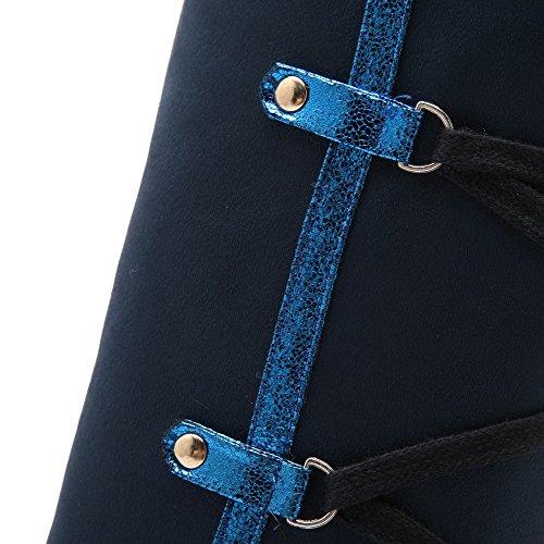 VogueZone009 Damen Schmirgeln Rund Zehe Rein Hoch-Spitze Niedriger Absatz Stiefel Blau
