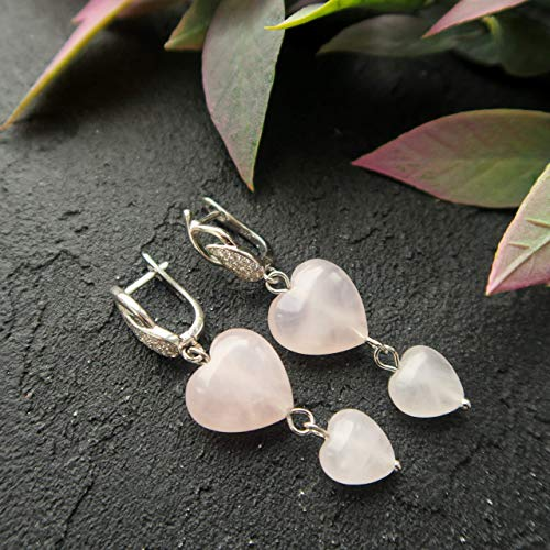 - Rose quartz earrings - light pink and heart shape - gift idea for Mother