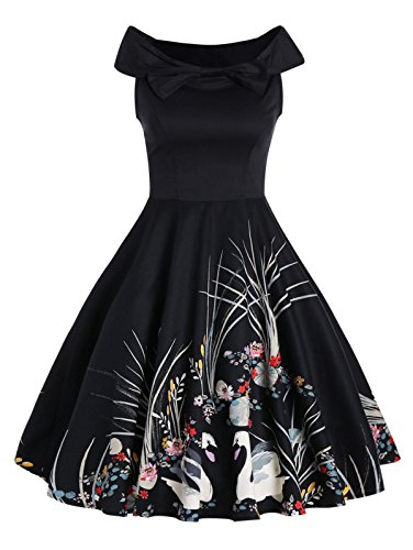Minifaceminigirl Women 1950s 50s Style Plus Size Black Retro Vintage Cocktail Party (Womens 50s Style)