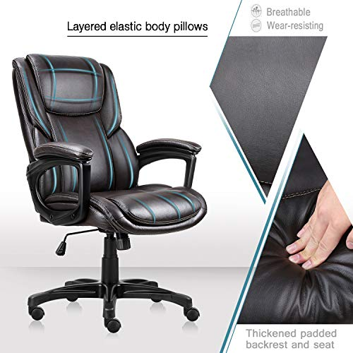 Executive Office Chair with Brown Leather, Swivel Desk Chair for Home and Office, Ergonomic Computer Chair with Adjustable seat by Becozier (Image #2)