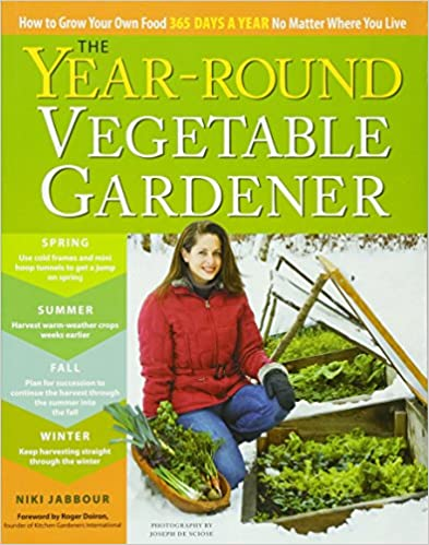 The YEAR-ROUND VEGETABLE GARDENER: How to Grow Your Own Food 365 Days a Year, No Matter Where You Live by Niki Jabbour - This book covers growing vegetables year-round in any climate, how to start seeds early, extend the harvest with season extenders such as poly tunnels and row covers, harvesting tips for vegetables in winter. Info on intensive planting, successful summer planting, cover crops, pests and diseases, seeding, succession planting, amendments, herbs, instructions for building a cold frame, and charts for succession planting and inter-planting. Also covers vegetables from A to Z, including multiple planting times based on last and first frost dates and favourite vegetables to grow.