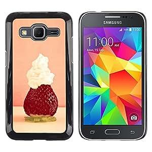 """For Samsung Galaxy Core Prime / SM-G360 , S-type Macro de la fruta de la fresa batida"""" - Arte & diseño plástico duro Fundas Cover Cubre Hard Case Cover"""