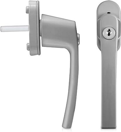 kwmobile 4 pomo de puerta con llave - Manilla de puerta con cerrojo - Manija de seguridad para ventana corredera - Color plata o aluminio: Amazon.es: Bricolaje y herramientas