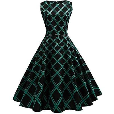 HGWXX7 Women's Vintage Plaid Sleeveless Evening Party Hepburn Dress with Belt