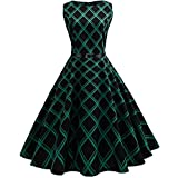 50S 60S Vintage Dresses Sleeveless for Women Plaid Print Casual Pleated Belt Prom Swing Dresses for Summer Green