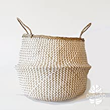 DUFMOD Large White Zigzag Woven Natural Seagrass Tote Belly Basket for Storage, Laundry, Picnic, Plant Pot Cover, and Beach Bag