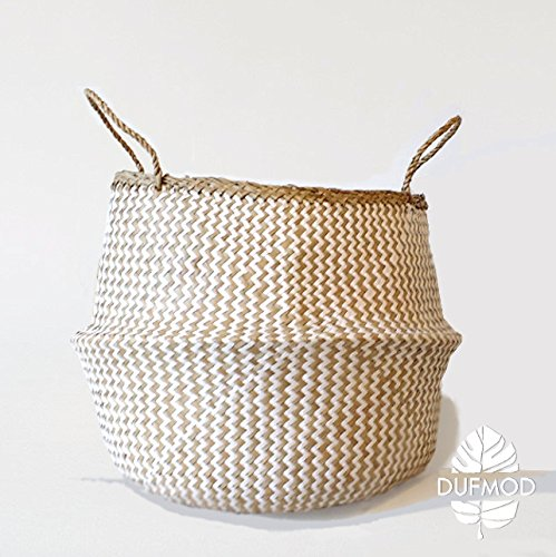 DUFMOD Medium Natural and Plush Woven Seagrass Tote Belly Basket for Storage, Laundry, Picnic, Plant Pot Cover, and Beach Bag (Plush Zigzag Chevron Seagrass White, Medium)