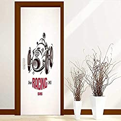 Tijakahome Door Wall Sticker Retro Race car Vintage Symbol Label Template Glass Film for Home Office W30 x H80