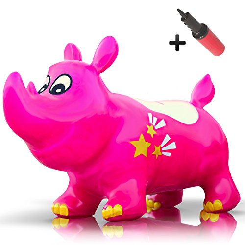 Rhino Pony - WALIKI TOYS Bouncy Kent the Rhino Inflatable Horse Hopper (Space Hopper, Jumping Horse, Ride-on Bouncy Animal)