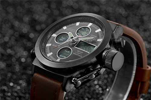 24ff66afca4 Amazon.com  Tamlee Fashion Leather Men s Military Watches Multifunctional Digital  Watch Men Sports Watch  Watches