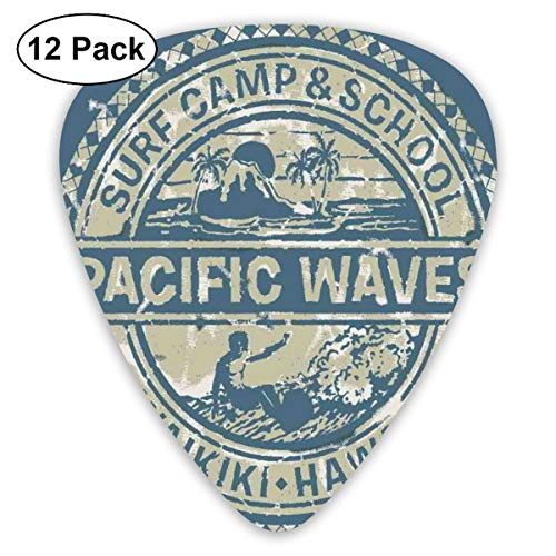 (Guitar Picks - Abstract Art Colorful Designs,Pacific Waves Surf Camp School Hawaii Logo Motif Artsy Effects Design,Unique Guitar Gift,For Bass Electric & Acoustic Guitars-12 Pack)