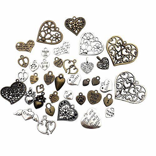 100g (about 70pcs) Craft Supplies Antique Bronze Antique Silver Heart Valentine Wedding Charms Pendants for Crafting, Jewelry Findings Making Accessory For DIY Necklace Bracelet (Heart Charms) -