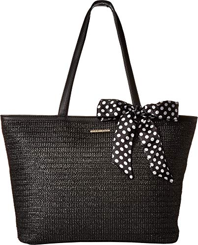 - Rampage Womens Straw Tote with Polka Dot Satin Bow Black One Size