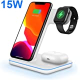 Wireless Charger, DOSHIN 3 in 1 15W Fast Qi Wireless Charging Station for iPhone SE/11/8/X, Samsung Galaxy s10/s9/s8/ Note 10/9,Wireless Charging pad for Apple Airpods Pro/2, IWatch Series 5/4/3/2