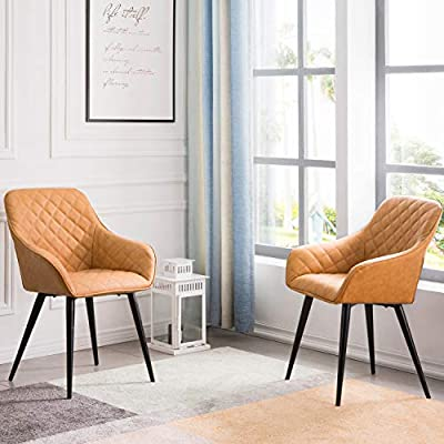 OVIOS Dining Chairs,Accent Chair Set of 2,Leather Kitchen Chairs with Sturdy Metal Legs and Arm. (Light Brown) - Simply elegant: thechair has a style fit for royalty. This dining chair is upholstered in your choice of colorperfectly accented with button tufting. Cosy seat: desk task chair with ribbed backrest and seat. Lumbar support: these standard back chairs are slightly and elegantly curved, expertly finished with velvety soft upholstery. - kitchen-dining-room-furniture, kitchen-dining-room, kitchen-dining-room-chairs - 519CYAHUBaL. SS400  -
