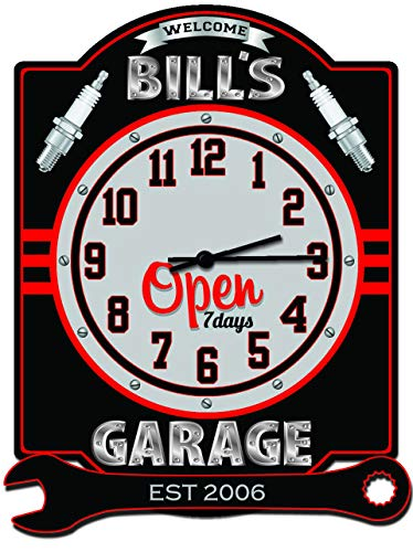 Personalized Garage Sign - Redeye Laserworks Garage Clock with Wrench Personalized Hardboard sign from