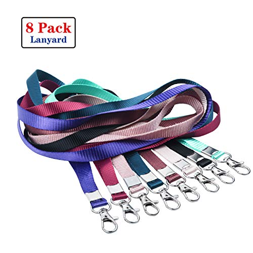 Neck Lanyards for ID Badge Holder, Durable Flat Nylon Lanyard Strap with Stainless Swivel Hook for Name Tag Badge Holders, Keychains, Camera, Cellphone, USB Flash Drive, Whistle (8pack,8Color Mix)