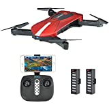 Pocket Selfie Drone , Kingtoys WIFI FPV Quadcopter With 2MP Camera ,Foldable Arm Altitude Hold RC Drone with 2pcs 3.7V 500mAh Batteries