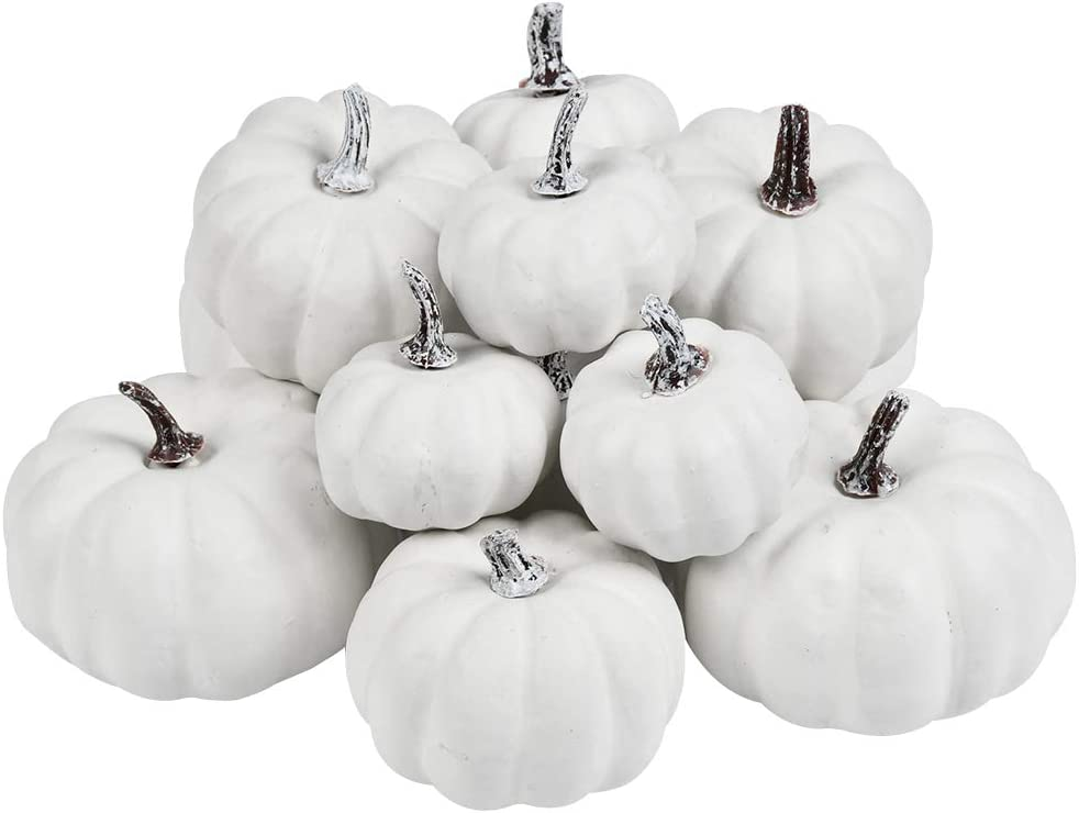 BUYGOO 12Pcs Artificial Pumpkins White Mini Realistic Pumpkins Assorted Sizes for Halloween, Fall and Thanksgiving Decorating