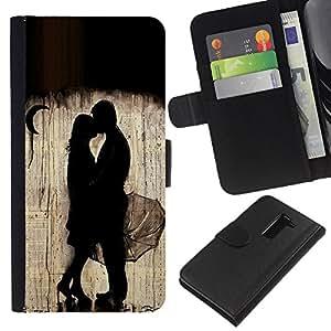 A-type (Rain Moon Couple Deep Valentines) Colorida Impresión Funda Cuero Monedero Caja Bolsa Cubierta Caja Piel Card Slots Para LG G2 D800