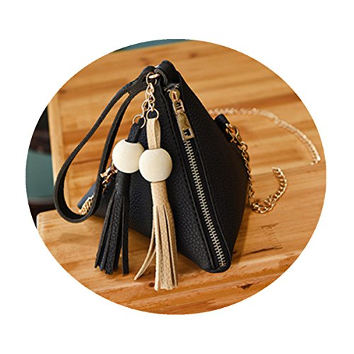 OURBAG Women's PU Leather Clutch Wallet Triangle Wristlet Purse With Wrist Strap Black Medium - Black Pyramid Shape