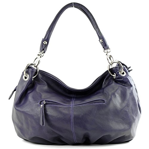 Women's Italian It40 Leather Bag Nappa Dunkellila Shoulder Handbag OqxTqr5Z