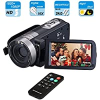 Digital Camcorder, Mengyasi Portable Video Camcorder with IR Night Vision HD 1080P 24MP 16X Digital Zoom Remote Control Handheld Camcorder with 3' LCD Screen (2 Batteries Included)