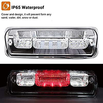 High Mount Waterproof Dual Row LED 3rd Third Tail Rear Brake Light Cargo Lamp Replacement For 2004 2005 2006 2007 2008 Ford F-150 Lincoln Mark LT (Chrome Lens): Automotive