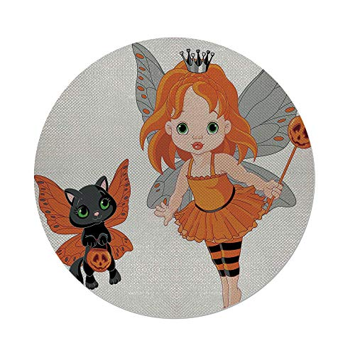 iPrint Cotton Linen Round Tablecloth,Halloween,Halloween Baby Fairy and Her Cat in Costumes Butterflies Girls Kids Room Decor Decorative,Multicolor,Dining Room Kitchen Table Cloth Cover ()