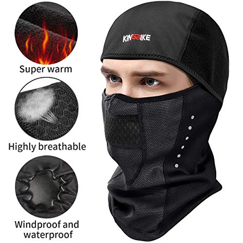 KINGBIKE Balaclava Ski Mask Motorcycle Running Full Face Cover Windproof Waterproof Neoprene With Micro-polar Fleece Masks Black for Men Women Warm Winter Cold Weather Gear Cycling Bike Skiing ()