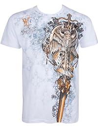 Sakkas Eagle Perched on a Sword Metallic Silver Fashion T-Shirt