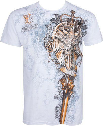 TGEaglePerch745 Eagle Perched on a Sword Metallic Silver Embossed Short Sleeve Crew Neck Cotton Mens Fashion T-Shirt - White/Large ()