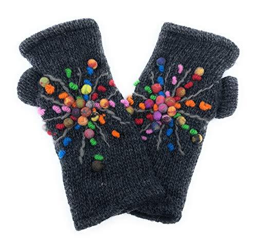 Hand Knit Fingerless Felted Wool Star Winter Wool Texting Driving Gloves Mittens Warm Fleece ()