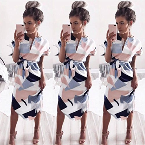 Soire Longue Floral Femme Rose Manches Mode Rose Robe XL Robe Courtes Robe Femme Yesmile WUcRTz0qT