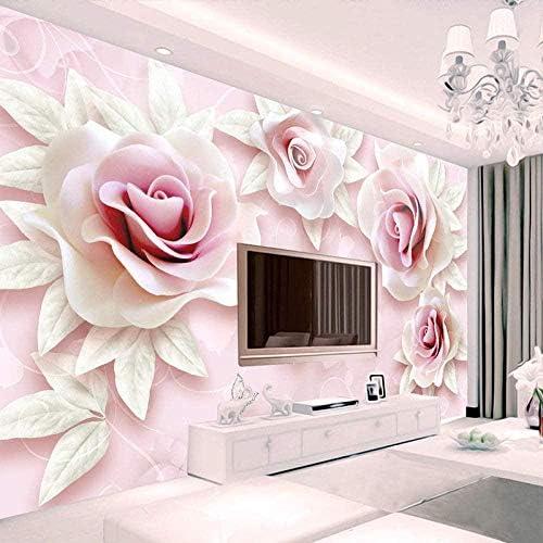 Hhkkck 3D壁紙壁画壁紙パーソナライズされたステレオ救済ピンクピンク結婚式塗装写真寝室リビングルーム寝室壁キャンバス装飾-120X100Cm