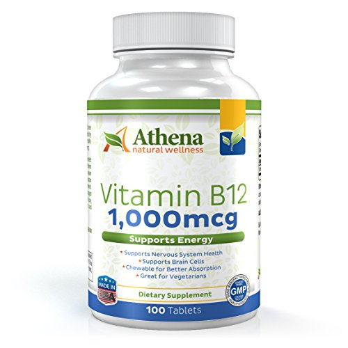 Athena - Vitamin B12 1,000 mcg - Methylcobalamin - Chewable Tablets - 100 Count - Suitable for Vegetarians Non-GMO Formula (Sublingual Vitamin B12 1000 Mcg compare prices)