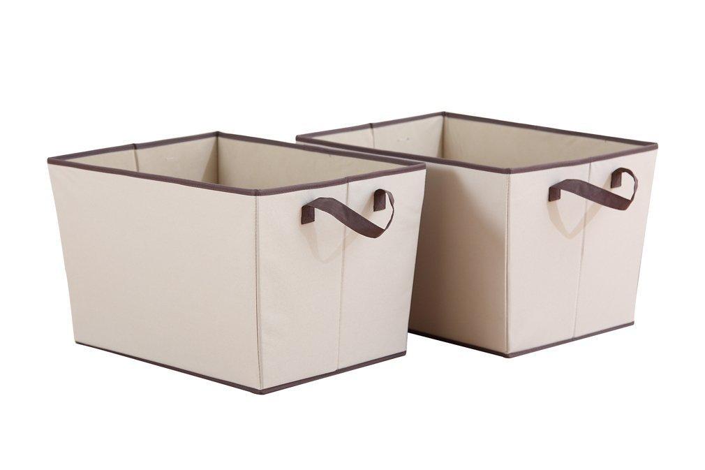 StorageManiac Ceste con manichi, scatole pieghevoli per archivi, vestiti ed accessori, pack di 2, 38 x 51 x 31.8 cm, Colore beige STM1306000014