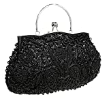 ThyWay Beaded Sequin Design Metal Frame Kissing Lock Satin Interior Evening Clutch (Black)