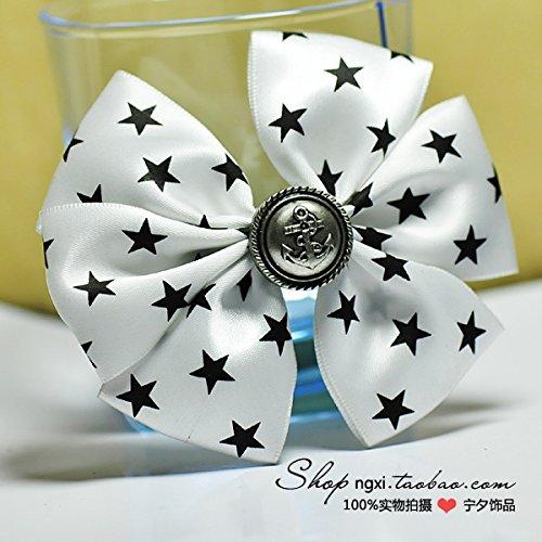 Custom white stars retro bow brooch brooch handmade accessories for boys and girls 10 9 shirt ()